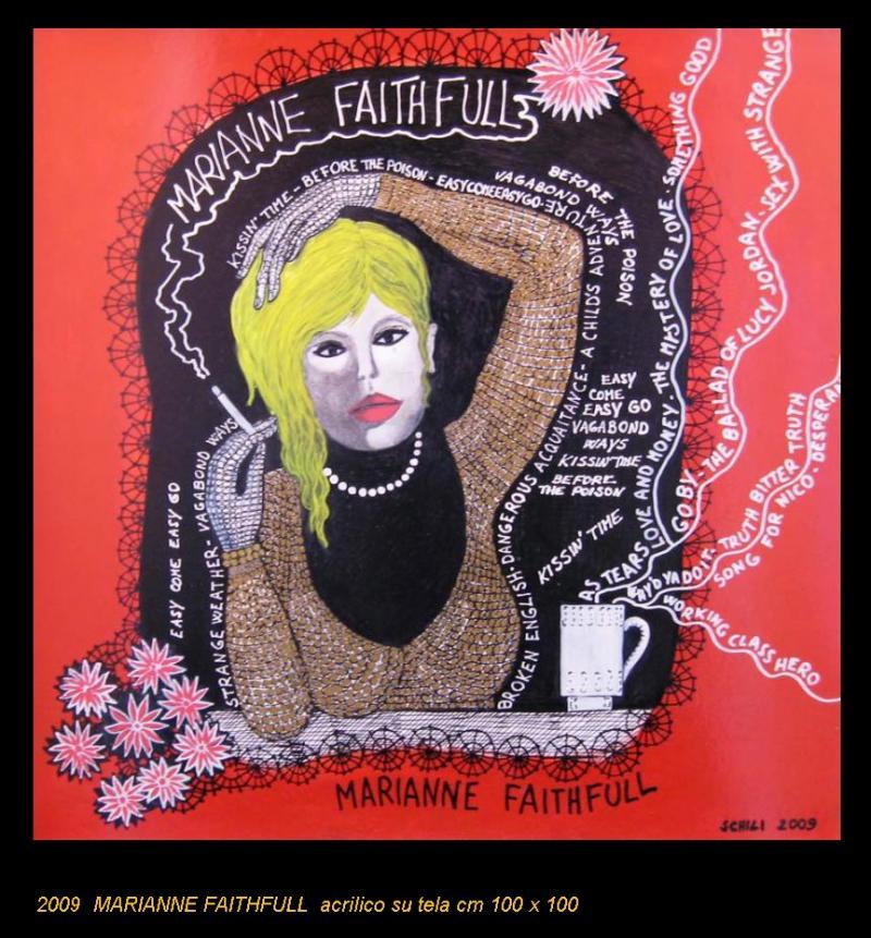 2009 MARIANNE FAITHFULL  acrilico su tela cm 100 x 100......euro 900