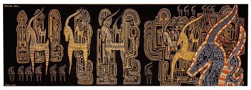2014  AFRICAN IDOLS  acrilico su tela  cm 150 x 50.......euro 1200