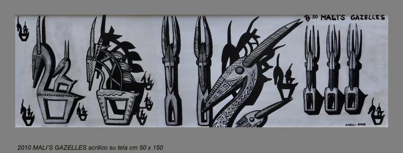 2010  MALI'S GAZELLES  acrilico su tela cm 50 x 150 ............not available