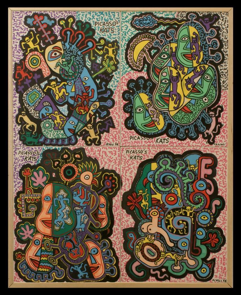 1999 - Picasso's  Kats - acrilico su tela cm 80 x 100 - - -not available