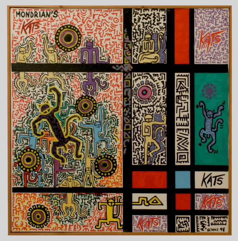 1998 - Mondrian's  Kats - acrilico su tela cm 80 x 80 - - -not available