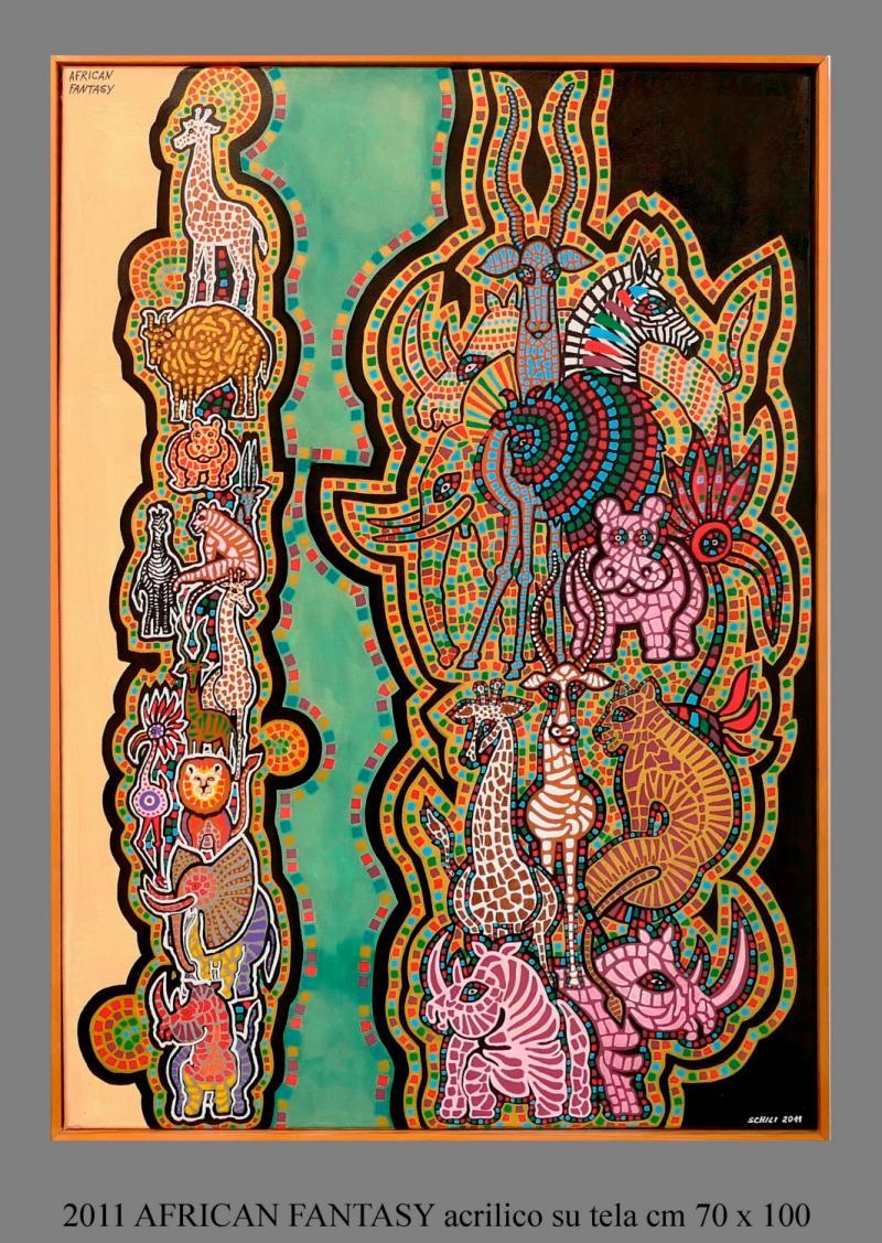 2011  AFRICAN FANTASY  acrilico su tela cm 70 x 100................euro 900
