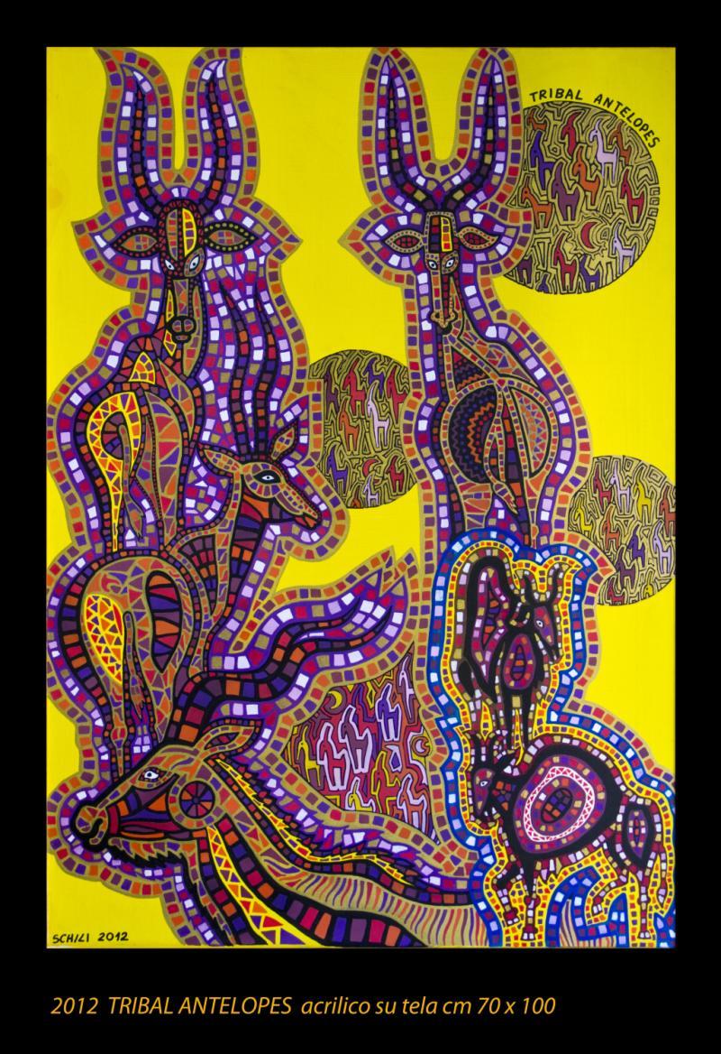 2012  TRIBAL ANTELOPES  acrilico su tela cm 70 x 100...........euro 900