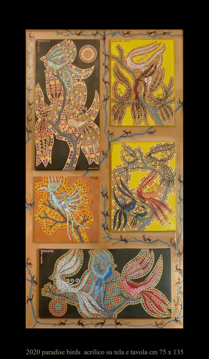 2020 PARADISE BIRDS  acrilico su tela e tavola cm 75 x 115....................euro 1200
