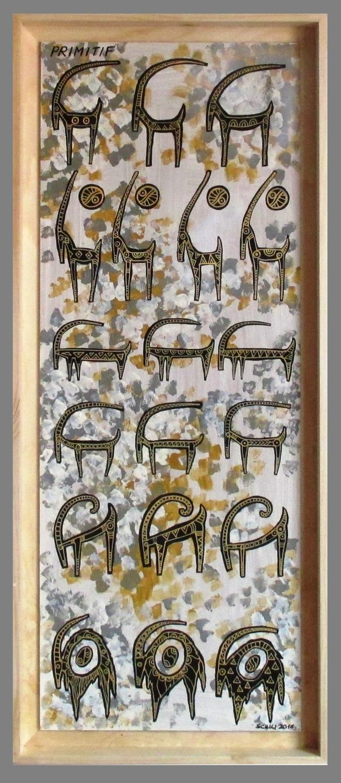2016  PRIMITIF acrilico su tavola cm 36 x 86 .......not available