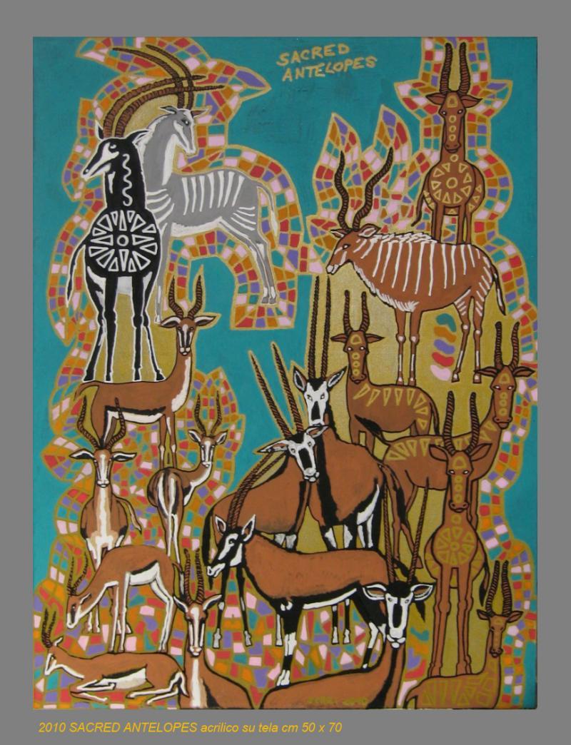 2010  SACRED ANTELOPES  acrilico su tela cm 50 x 70.......not available
