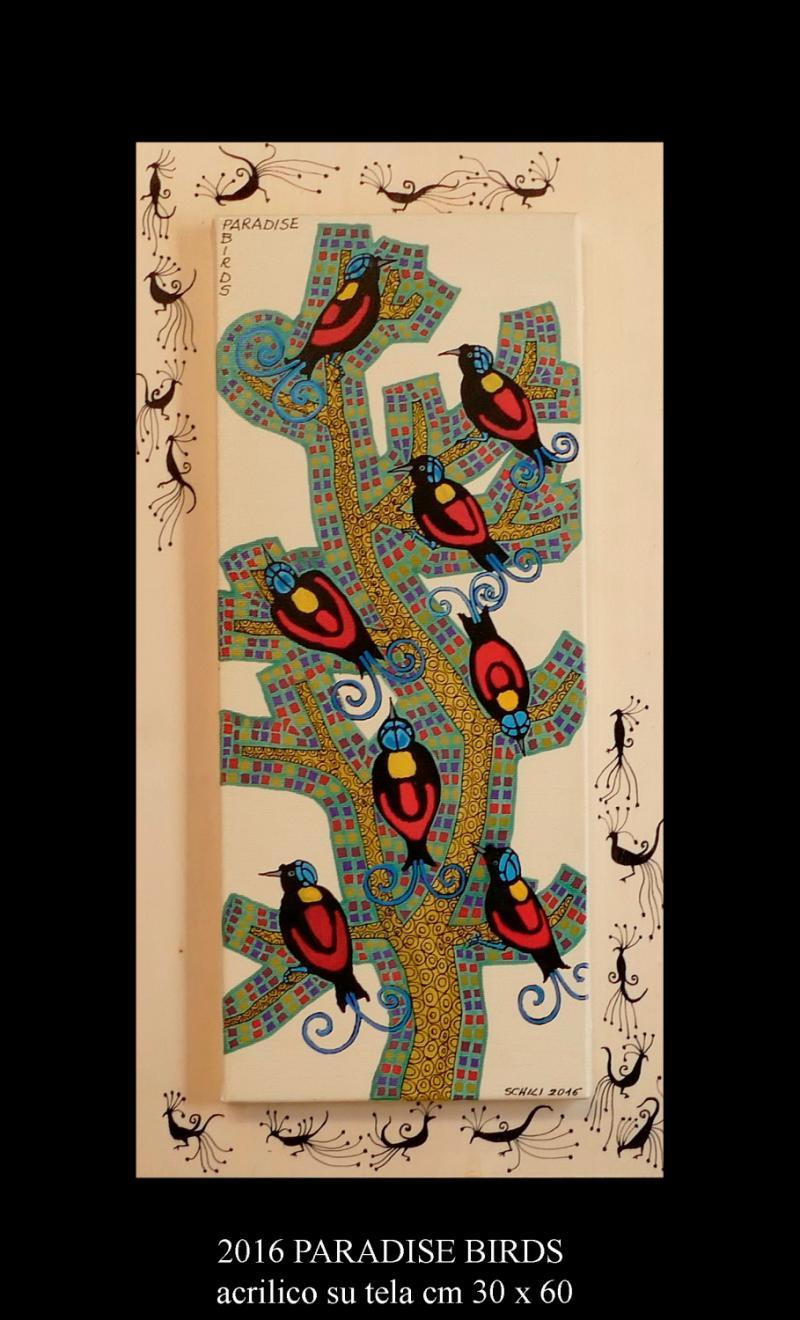 2016 PARADISE BIRDS  acrilico su tela cm 30 x 60.........euro 300