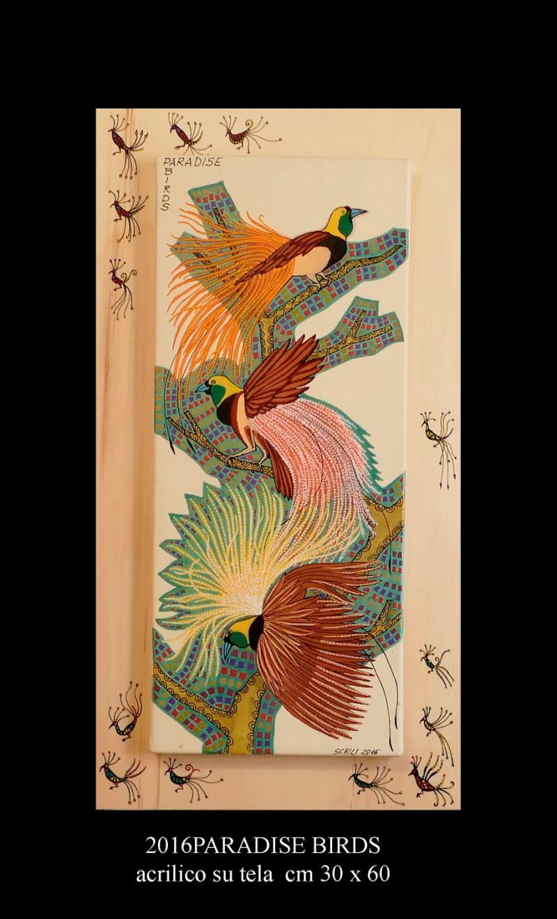 2016 PARADISE BIRDS acrilico su tela cm 30 x 60..............euro 300