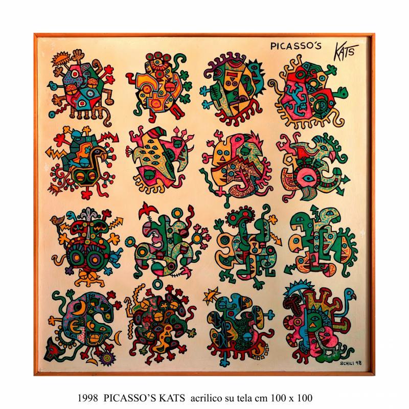 1998  PICASSO' KATS  acrilico su tela cm 100 x 100..................euro 1200