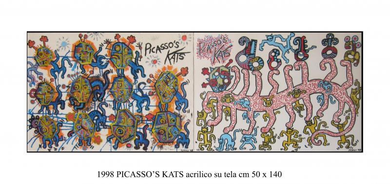 1998 PICASS0'S KATS  acrilico su tela cm 140 x 50............euro 900
