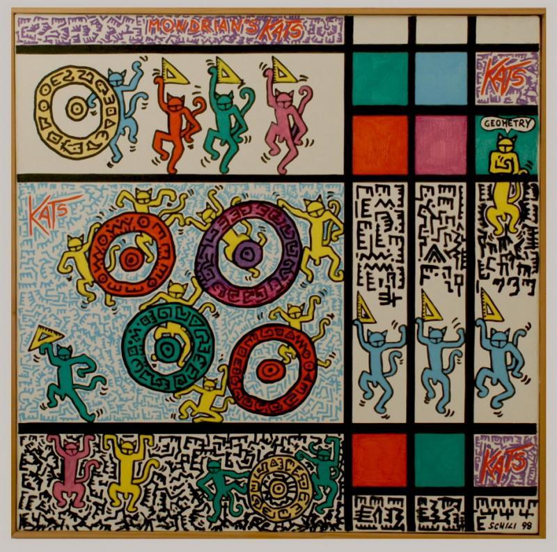 1998 - Mondrian's Kats - acrilico su tela cm 80 x 80 - - - not available