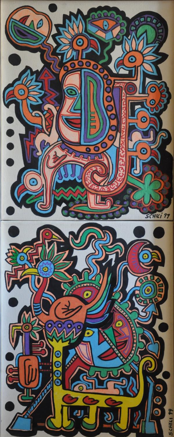 1999 - Picasso's Masks - acrilico su tela cm 40 x 100 - - -not available